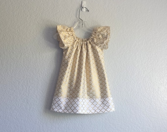 New! Gold and White Flutter Sleeve Dress - Girls Metallic Gold Dress - Toddler Girls Holiday Dress - Size 12m, 18m 2T, 3T, 4T, 5, 6 or 8