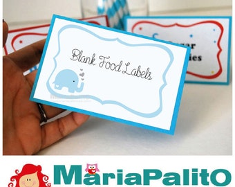 8 Baby Shower Food Labels, Blank Elephant Baby Shower Buffet Tented Labels  A1279