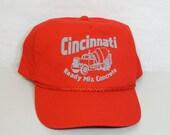Cincinnati Ready Mix Concrete Trucker Hat Red Gray Screen Printed Snapback Hat Cap