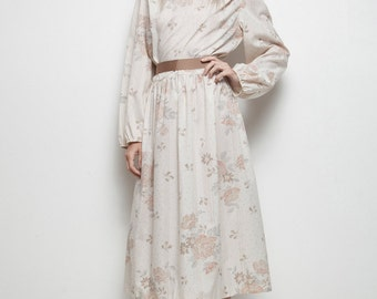 deadstock unworn lace collar baby doll midi dress cream brown floral impressionistic print belted vintage 70s L LARGE