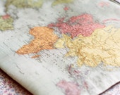 World map purse.Vintage World Map Make Up Bag.Vintage map purse.World Map Travel bag.Old map print bag.Map Lovers.Back to school pencil case