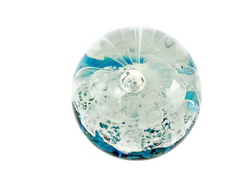 Vintage Art Glass Paperweight Controlled Bubble Paperweight Blown Glass Paperweight  Layered Turquoise Blue White Ribbon
