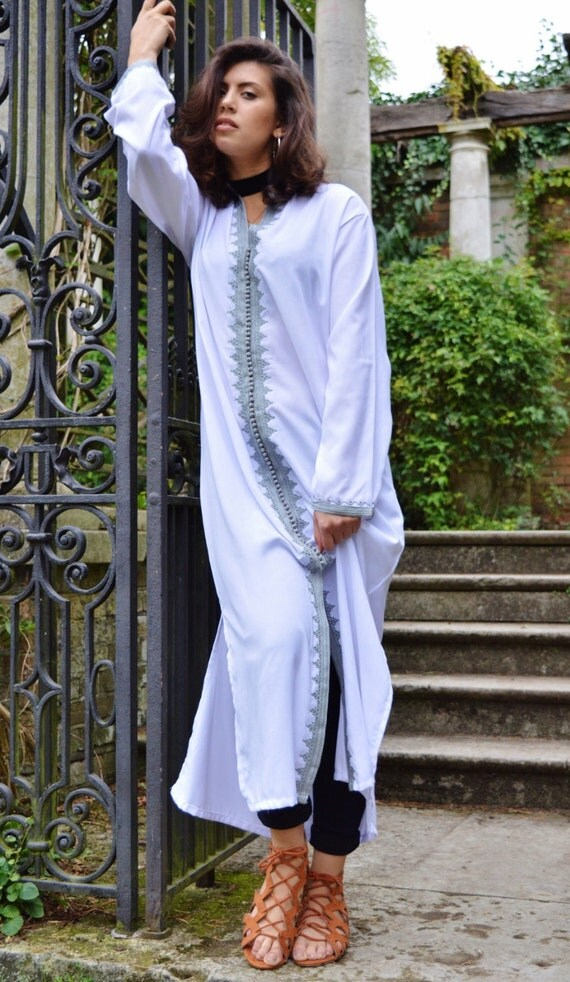 Christmas gifts- Winter Trendy Clothing White Grey Maha Moroccan Caftan Kaftan -maxi, resort, beach cover up, Birthdays, Maternity Gifts