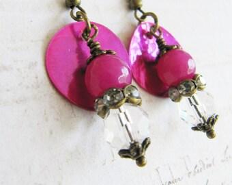 Fuschia earrings, bohemian earrings, fuschia jewelry, bronze crystal dangle, boho style, gift for her, rustic, colorful jewelry,Europe