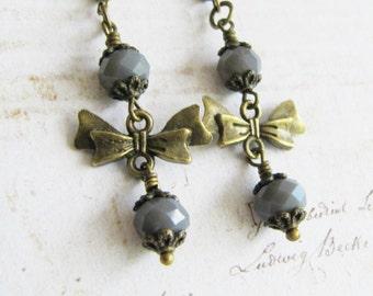 Grey earrings, vintage style jewelry, dangle bow earrings, for her, gray jewelry, bronze earrings, romantic jewelry