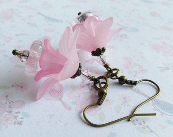 Pink flower earrings, pink romantic jewelry, vintage sstyle bronze earrings, gift for her, dangles