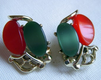 Fall Orange and Green Thermoset Earrings