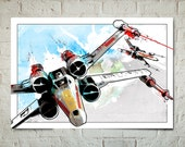 Star Wars X-wing Fighters, Art Print, Star Wars Print, X-Wing Fighter print, Star Wars Poster, Fan Art illustration, Watercolor art