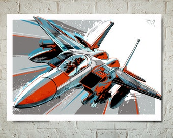 Airplane Art - F-15 Eagle - Airplane Print, Pop Art, Jet, Airplane Decor Art Print, Military Gift, Aviation, Airplane Nursery, Pilot gift