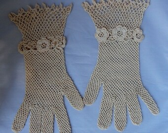 Antique Openwork Crocheted Gloves Ivory w/ Flowers Size 8    NBF6