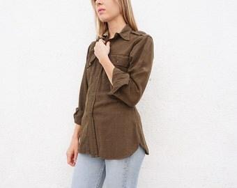 Shirt Military Army Green Button Down Wool  sz. S