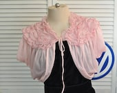 Vintage 40s 50s Women's Bed Jacket/Cape/Shrug/Layered Ruffled/Coverlet/Dusty Rose Pink/Nylon Tricot/Vanity Fair/Mid Century/Costume Lingerie