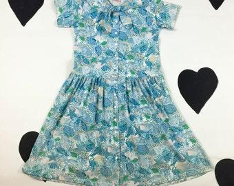 80's baby blue sea shell sun dress 1980's snap up sailor collar fish shell beach printed cotton dress / girly / dolly / sun / short mini XS