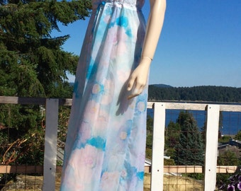 Vintage WATERCOLOUR Negligee Maxi Nightgown