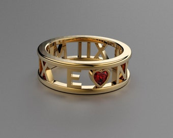 Ruby Heart Roman Numeral Ring in Solid 14k, 18k Yellow Gold. Wedding and Anniversaries. Valentine's Day Gift for Her. Personalized Jewelry