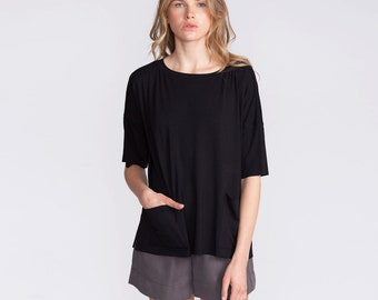 Women's top, black t-shirt, oversized shirt , 3/4 sleeves, blouse, summer top, loose fit, shirt, round neck shirt, with pockets, black
