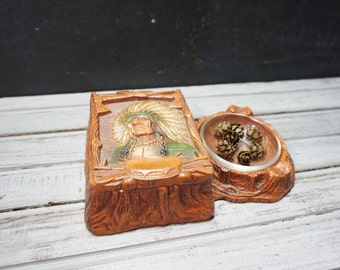 Syroco Native American Ashtray and Match Holder