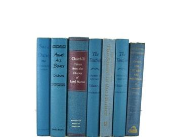 Blue  Decorative Books , Old Book Set , Photo Props ,  Wedding Book Decor , Book Lover Set
