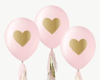 "12"" Pink & Gold Balloons / Brushed Heart"