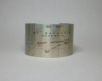 Mount Katahdin Maine Map Cuff Bracelet Unique Hiker Bacpacker Gift for Men or Women
