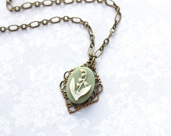 Lily of the Valley Necklace Cameo Necklace Sage Green Vintage Style Pendant Flower Jewelry for Women Victorian Floral Necklace Easter Spring
