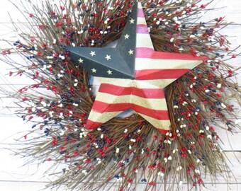 Patriotic Wreath, Patriotic Star Wreath, Americana Wreath, 4th of July Wreath, Red White and Blue Wreath,  Barn Star