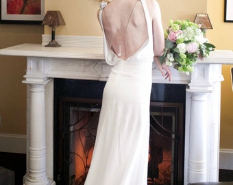 Backless Wedding Dress, 1930, 1920, Art Deco, Vintage Inspired, CHANDELIER, Long Ivory or White Bias Crepe