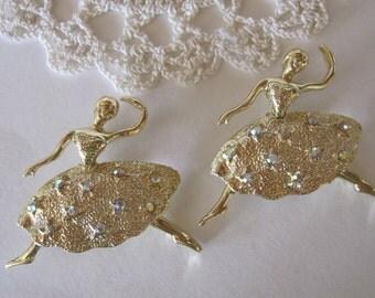 Vintage Dancing Ballerina Brooch Pin Set Aurora Borealis Stones ~ Goldtone