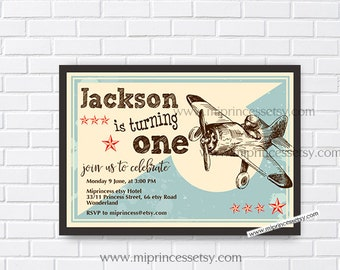 Airplane Birthday Invitation for any age 1st 2nd 3rd 4th 5th 6th 7th 8th 9th 10th  kids birthday invitation Vintage Retro Rustic - card 261