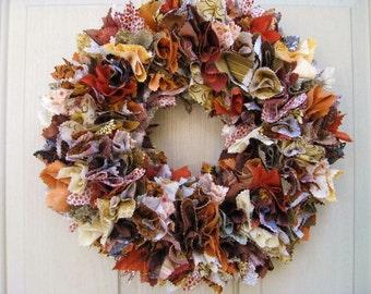 Fall Wreath, Fall Rag Wreath, Farmhouse Wreath, Thanksgiving Decor, Thanksgiving Wreaths, Autumn Door Wreath, Fabric Wreath, Wreath for Fall