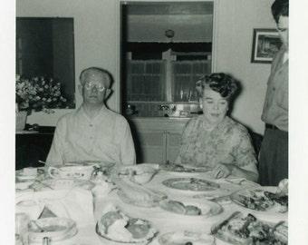 "Vintage Photo ""After Dinner Snooze"" Snapshot Antique Photo Black & White Photograph Found Paper Ephemera Vernacular - 102"