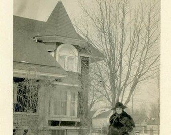 "Vintage Photo ""Winter Mourner"" Woman Home House Snapshot Photo Old Antique Black & White Photograph Found Paper Ephemera Vernacular - 91"