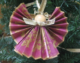 Paper Angel Tree Ornament, Cranberry Gold Ribbon Angel, Christmas Decoration, Angel Ornament, Angel Collector, Holly Angel SnowNoseCrafts
