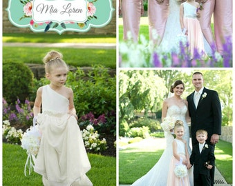 Ivory Flower girl dress, FREE SHIPPING, One shoulder rhinestone sash, Custom Made in the USA by Mia Loren Boutique