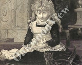 Puss In Boots Engraving, Pretty Little Girl & Kitten Wearing Booties, Doll, Antique 1879 Art Print, FREE SHIPPING
