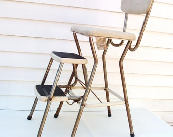 1950s Kitchen Stool, Folding Step Stool, Cosco Stool, Chrome Chair, Beige Vinyl – As Is