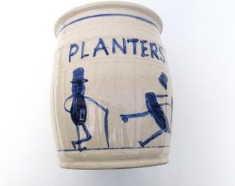 Vintage Stoneware Crock | Ironstone Crock | Planters Peanut Counter Display | Mr. Peanut | Advertising Crock