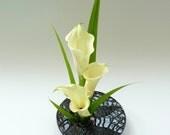 Ikebana vase ~ ikebana bowl, flower vase, Zen home decor, Ikebana dish, handmade glazed vases, modern flower arranging, zen succulent pot