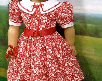 1950's Red Print Valentine's  Dress fits 18 Inch Dolls