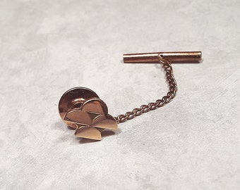 Vintage Tie Tack, 10KT 10K Gold, Gold Tie Tack, Signed OCT, OC Tanner, Mens Formal, Groom Wedding, Guy Gift, Mid Century, Half Circles