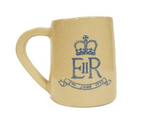 Queen Elizabeth II Commemorative Glazed Stoneware Pint Mug 1953 Coronation Queen