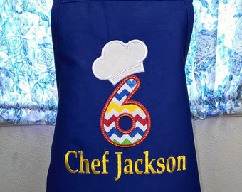Personalized Child Apron Birthday Apron Chef Hat with Number