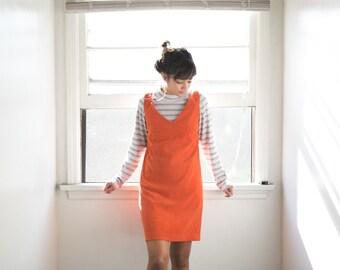 90s Jumper Dress / Pinafore Dress / Burnt Orange Sleeveless Deep V Neck Faux Suede Mini Dress /Short Bib Oversize Womens Medium Preppy Retro
