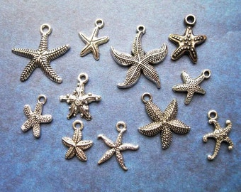 11 Starfish Charm Collection in Silver Tone - C2365