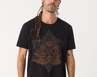 Anahata Yantra Mens T-shirt Screen Printed Psychedelic T shirt Sacred Geometry Mandala Festival Clothing Black Grey Olive Brown