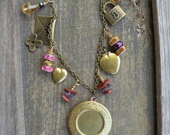 "Gold lockets iridescentt crystals goldstone amethyst necklace antique brass chain 18"""