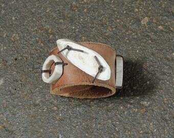 Deer Antler Bracelet,  Leather Cuff, Upcycled Leather Bracelet, Chocolate Brown Leather Cuff, Carved Deer Antler Bracelet, Boho Chic