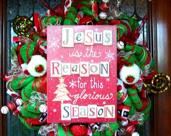 Jesus Is The Reason For The Season, Whimsical Christmas Wreath, Christmas wreath, deco mesh wreath, wreath, Christmas decorations