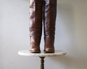 Tall Boots Leather - Women 8 8.5 - Brown High Heeled - 1970s Vintage