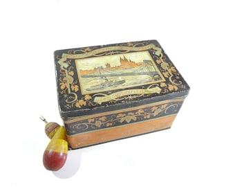 Vintage German Candy Tin Box, Rustic Decor, Metal Storage Box